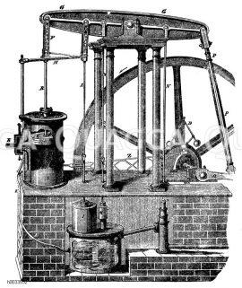 Niederdruck-Dampfmaschine, eingerichtet von James Watt
